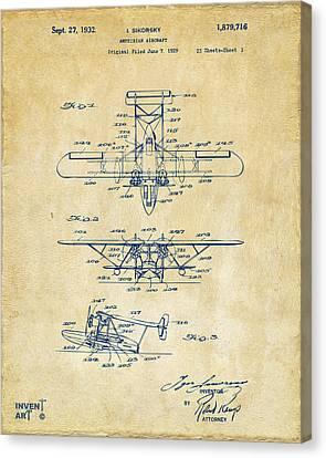 1932 Amphibian Aircraft Patent Vintage Canvas Print by Nikki Marie Smith