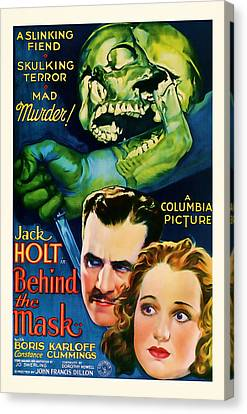 1932 Behind The Mask Vintage Movie Art Canvas Print by Presented By American Classic Art