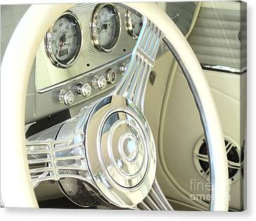 1932 Cabriolet Hupmobile Steering Canvas Print by Margaret Newcomb