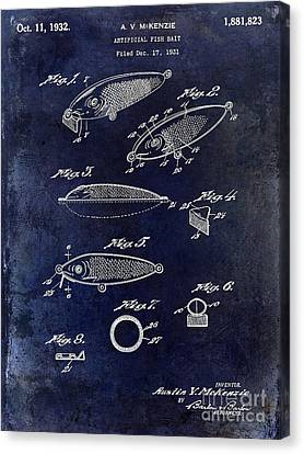 1932 Fishing Patent Drawing Blue Canvas Print