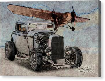 1932 Ford Coupe And Ford Trimotor Plane Canvas Print
