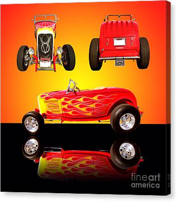 1932 Ford Flaming Hotrod Canvas Print by Jim Carrell