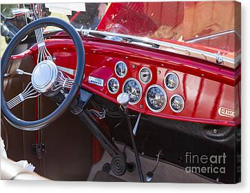 1932 Ford Roadster Interior Automobile Classic Car In Color  306 Canvas Print by M K  Miller