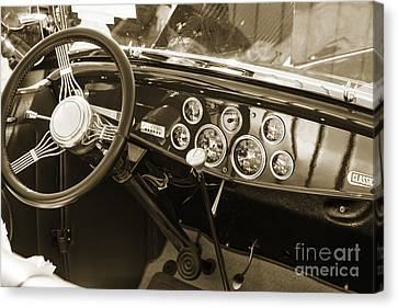 1932 Ford Roadster Interior Automobile Classic Car In Sepia  306 Canvas Print by M K  Miller