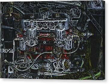 1932 Frazer Nash Tt Engine Detail Digital Art Canvas Print by John Colley