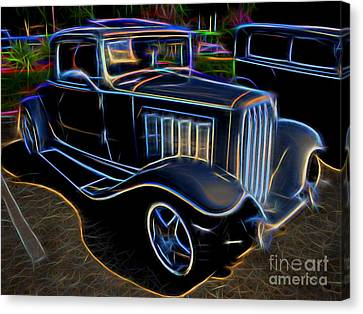 1932 Nash Coupe Antique Car - Neon Canvas Print by Gary Whitton