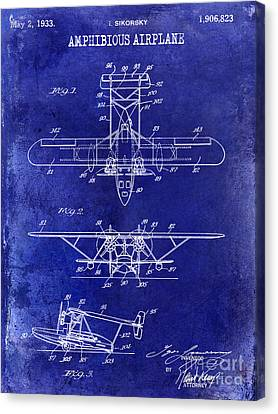 Vintage Airplane Canvas Print - 1933 Amphibious Airplane  Patent Drawing Blue by Jon Neidert