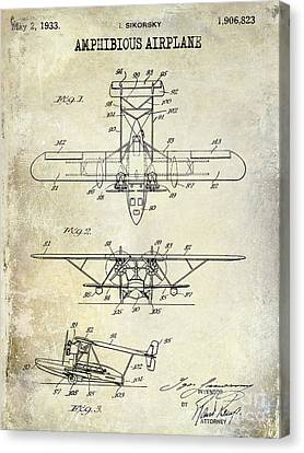 Vintage Airplane Canvas Print - 1933 Amphibious Airplane  Patent Drawing by Jon Neidert