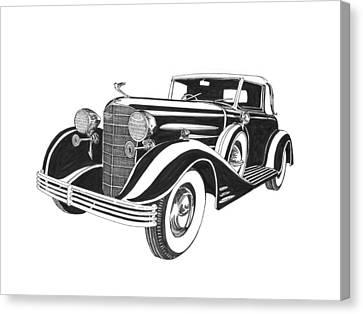 1933 Cadillac Victoria V 16 Convertible Canvas Print by Jack Pumphrey