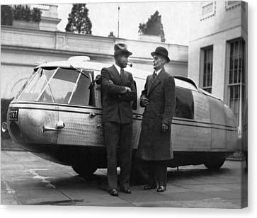 Buckminster Fuller Canvas Print - 1933 Dymaxion Car by Underwood Archives