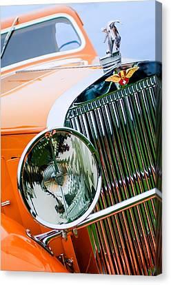 Hispano Suiza Canvas Print - 1933 Hispano-suiza J12 Vanvooren Coupe Grill Emblem - Hood Ornament by Jill Reger