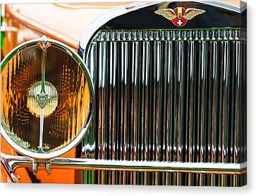 Hispano Suiza Canvas Print - 1933 Hispano-suiza J12 Vanvooren Coupe Grille Emblem by Jill Reger