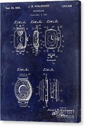 1933 Watch Case Patent Drawing Blue Canvas Print by Jon Neidert