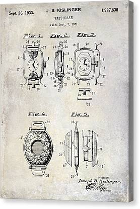 1933 Canvas Print - 1933 Watch Case Patent Drawing  by Jon Neidert