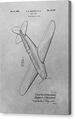 1934 Airplane Patent Drawing Canvas Print