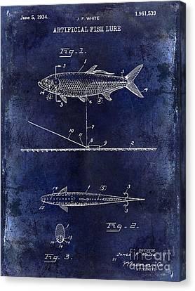 1934 Artificial Fish Lure Patent Drawing Blue Canvas Print by Jon Neidert