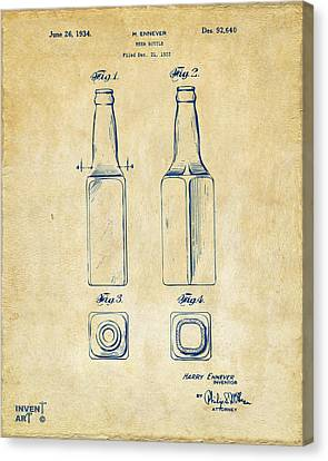 1934 Beer Bottle Patent Artwork - Vintage Canvas Print by Nikki Marie Smith