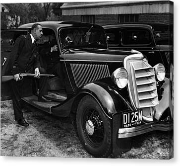 1934 Boston Policeman Ready For Action Canvas Print by Retro Images Archive