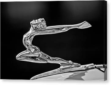 1934 Buick Goddess Hood Ornament -174bw Canvas Print