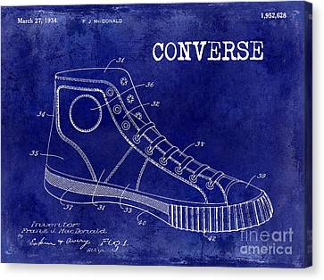 Nba Drawings Canvas Print - 1934 Converse Shoe Patent Drawing Blue by Jon Neidert