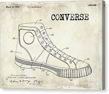 Tennis Shoe Canvas Print - 1934 Converse Shoe Patent Drawing by Jon Neidert