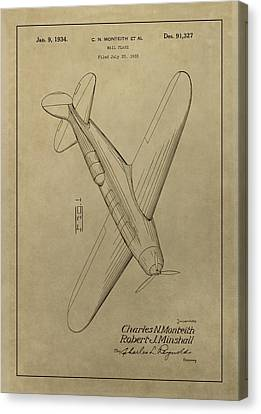 1934 Mail Plane Patent Canvas Print by Dan Sproul