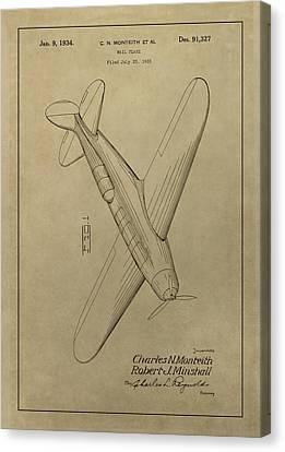 1934 Mail Plane Patent Canvas Print