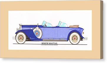 1934 Packard Sportif Boattail Concept By Dietrich Canvas Print by Jack Pumphrey