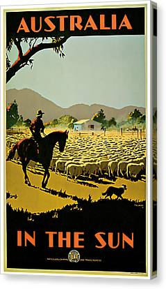 1935 Australia In The Sun - Vintage Travel Art Canvas Print by Presented By American Classic Art