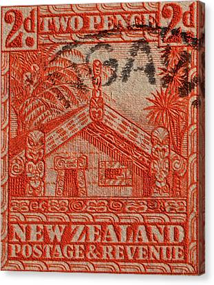 1935 Carved Maori House New Zealand Stamp Canvas Print