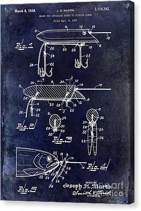 1935 Fishing Lure Patent Blue Canvas Print