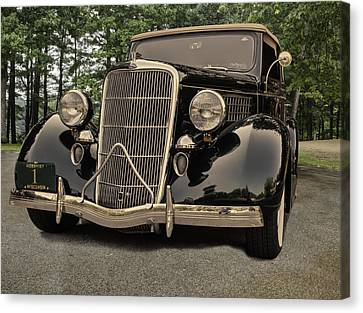 Antique Automobiles Canvas Print - 1935 Ford V8 by Thomas Young
