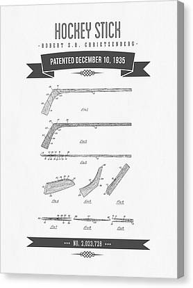 1935 Hockey Stick Patent Drawing - Retro Gray Canvas Print by Aged Pixel