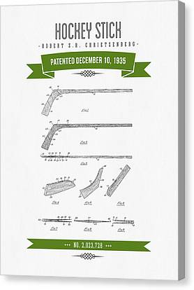 1935 Hockey Stick Patent Drawing - Retro Green Canvas Print by Aged Pixel