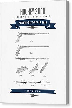 1935 Hockey Stick Patent Drawing - Retro Navy Blue Canvas Print by Aged Pixel