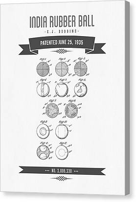 1935 India Rubber Ball Patent Drawing - Retro Gray Canvas Print by Aged Pixel