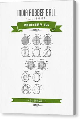 1935 India Rubber Ball Patent Drawing - Retro Green Canvas Print