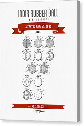 1935 India Rubber Ball Patent Drawing - Retro Red Canvas Print by Aged Pixel
