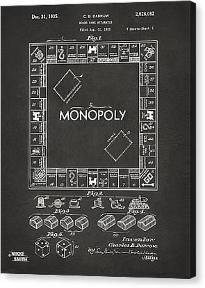 Gifts For Men Canvas Print - 1935 Monopoly Game Board Patent Artwork - Gray by Nikki Marie Smith