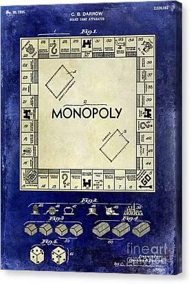 1935 Monopoly Patent Drawing 2 Tone Blue Canvas Print by Jon Neidert