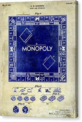 1935 Monopoly Patent Drawing 2 Tone  Canvas Print by Jon Neidert