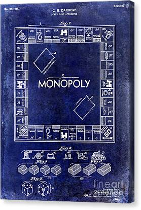 1935 Monopoly Patent Drawing Blue Canvas Print by Jon Neidert