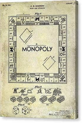 1935 Monopoly Patent Drawing Canvas Print by Jon Neidert