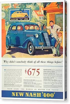 1936 - Nash Sedan Automobile Advertisement - Color Canvas Print