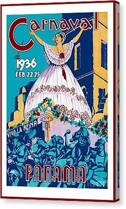 Nostalgia Canvas Print - 1936 Carnaval Vintage Travel Poster by Jon Neidert