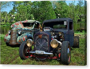 Canvas Print featuring the photograph 1936 Chevrolet And 1939 Chevrolet Rat Rod Pickups by Tim McCullough