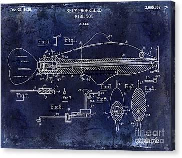 1936 Fish Toy Patent Drawing Blue Canvas Print by Jon Neidert