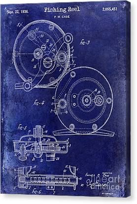 1936 Fishing Reel Patent Drawing Blue Canvas Print