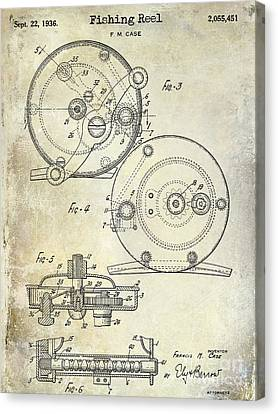 1936 Fishing Reel Patent Drawing Canvas Print