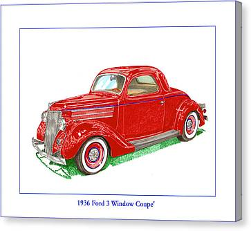 1936 Ford 3 Window Coupe Restro Canvas Print